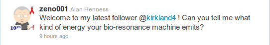 @zeno001 - Welcome to my latest follower @kirkland4 ! Can you tell me what kind of energy your bio-resonance machine emits?