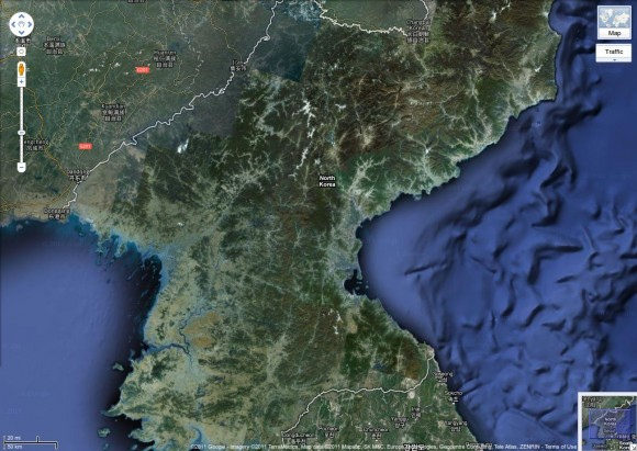 North Korea via Google Maps
