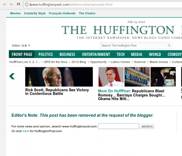 Screen capture of Huffington Post page indicating that an article has been removed