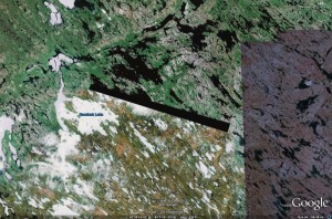 Region near Kaminak Lake, NU, from Google Earth