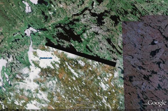 Region near Kaminak Lake, NU, from Google Earth