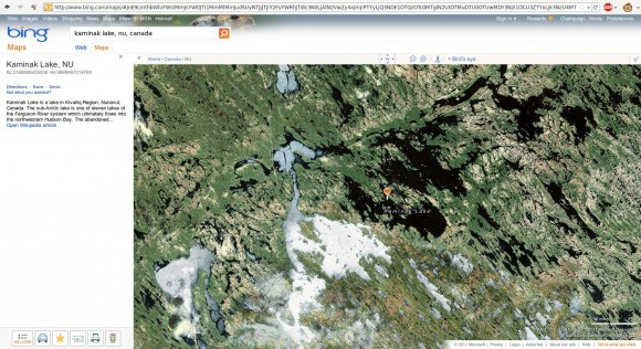 Kaminak Lake, NU, from bing Maps