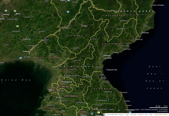 North Korea via bing Maps
