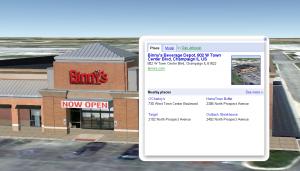 Google Earth screen capture of Binny's Beverage Depot in Champaign