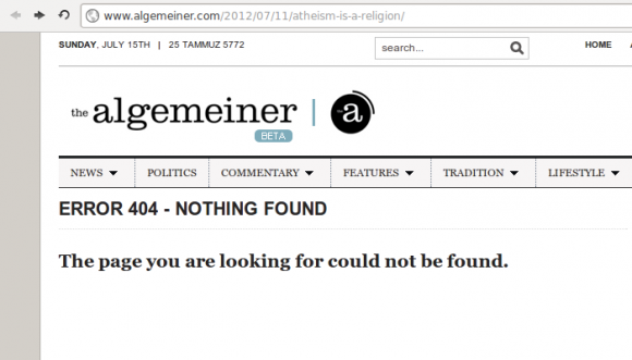 Screen capture of The Algemeiner's page indicating that the requested URL could not be found