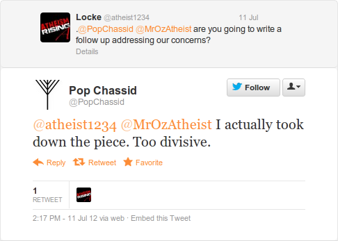 @PopChassid tweet about taking his post down.
